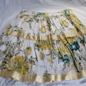 A-line Yellow Floral Skirt Sz L/12 Ribbon Tiered